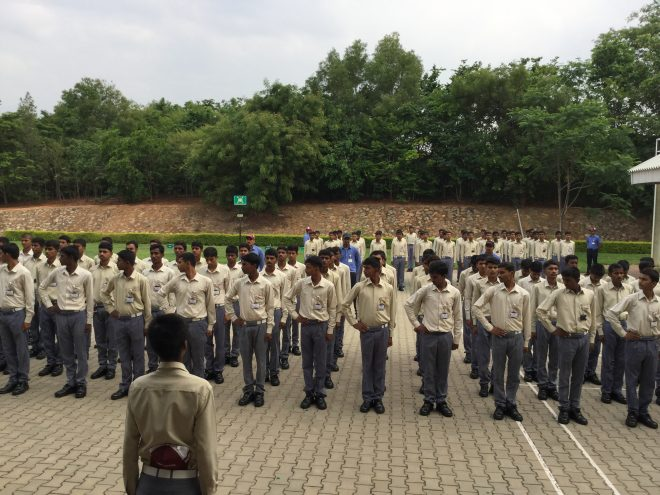 the students assembled at the open ground in the institute resembled an army battalion with their style of dressing and workouts. Their day starts after a small set of workouts