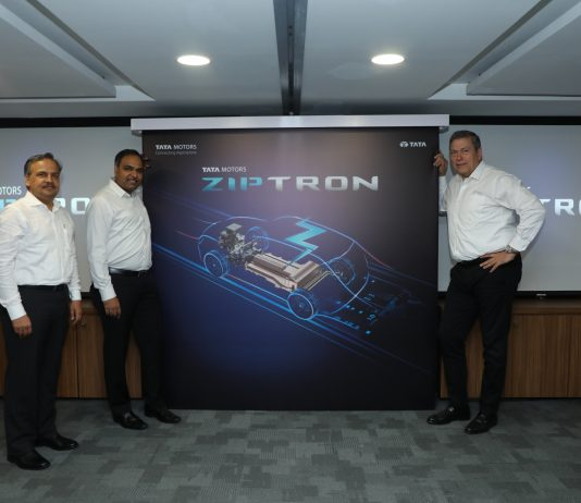 R- L Guenter Butchsek, CEO & MD, Tata Motors Ltd., Shailesh Chandra, President Electric Mobility Business & Corporate Strategy and Anand Kulkarni Product Line Head EVBU at the Tata Motors electric vehicle technology 'ZIPTRON' launch event.